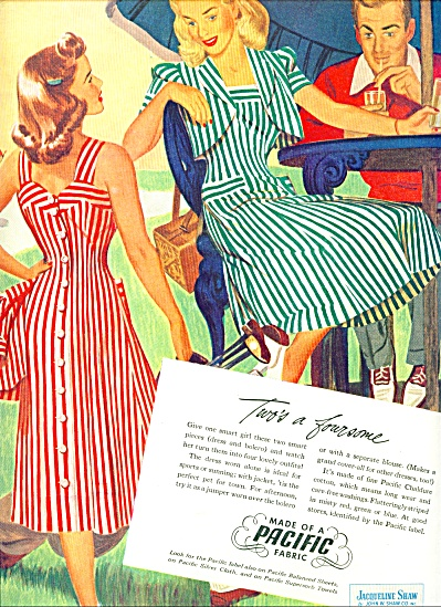 1948 - PACIFIC MILLS Clothing AD ARTWORK CUTE (Image1)