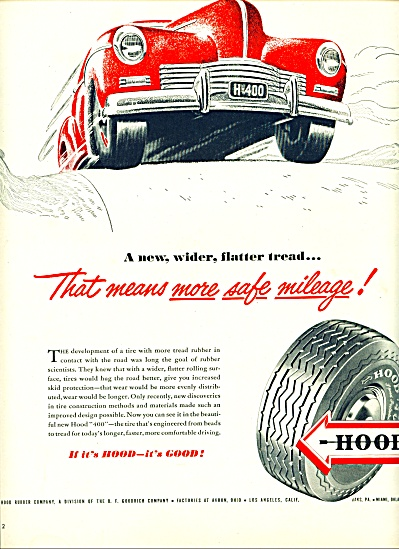 1947 - Hood Rubber Company - Auto Tires