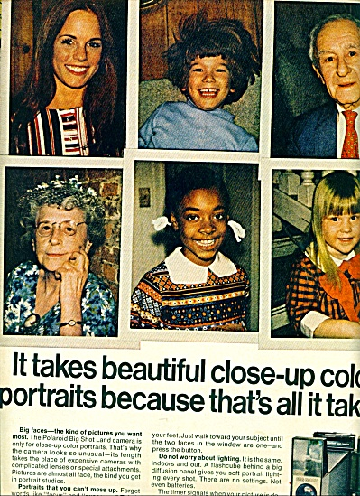 1971  Polaroid's Big shot camera ad CLOSE UP (Image1)