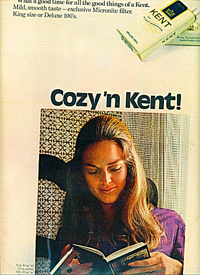 1971 COZY N Kent cigarettes ad Lady Reads (Image1)