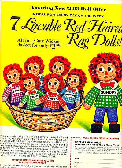 1971 Greenland Studios Red Haired rag doll AD (Image1)
