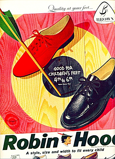 1958 Robin Hood Children Shoes Print AD - Arrow Brown (Image1)