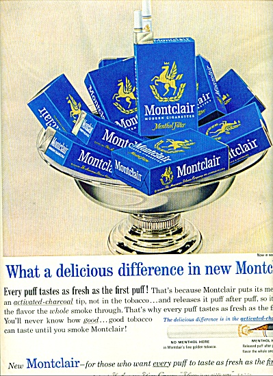 1964 - Montclair Menthol Filter Cigarettes Ad