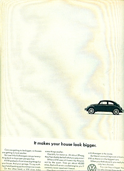 1966 - Volkswagen Vw Car Ad House Bigger