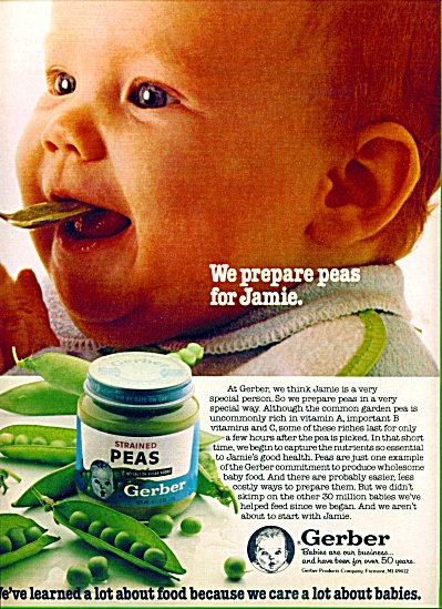 1980 = Gerber's strained peas food for babies (Image1)