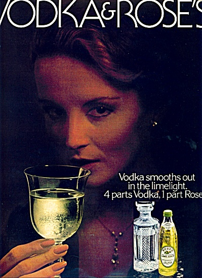 1980 Rose's Lime Juice Vodk Ad Lady W/ Drink