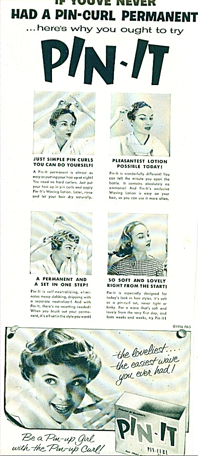 1956 -  Pin It Pin curl permanent ad (Image1)