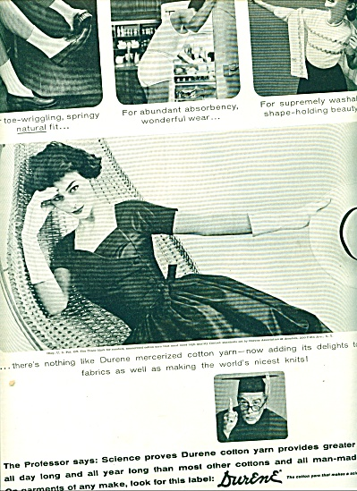 1956 Durene Cotton Ad Fashions Man Underwear