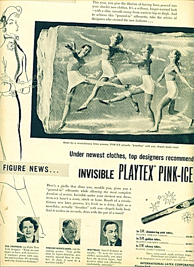1950  Invisible Playtex Pink Ice ad Bra Girls (Image1)