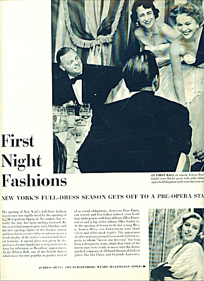 1950  First Night fashions STORY MOVIE STARS (Image1)
