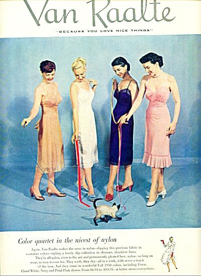 1950 Van Raalte nylon slips ad 4 Models (Image1)