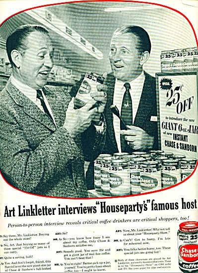 1956 -  Chase & Sanborn coffee ad -LINKLETTER (Image1)