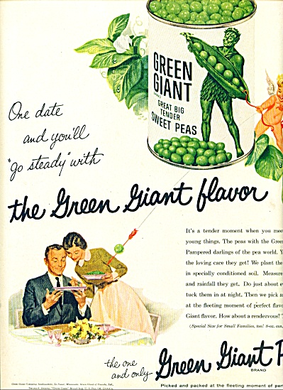1956 Green giant peas AD ONE DATE GO STEADY (Image1)