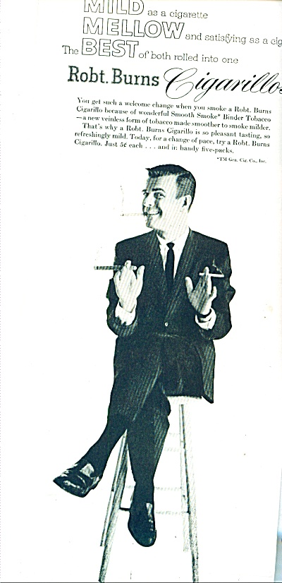1958 - Robert Burns cigarillos ad (Image1)
