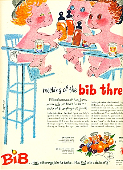 1953  BIB orange juice babies ad WHEATLEY ART (Image1)