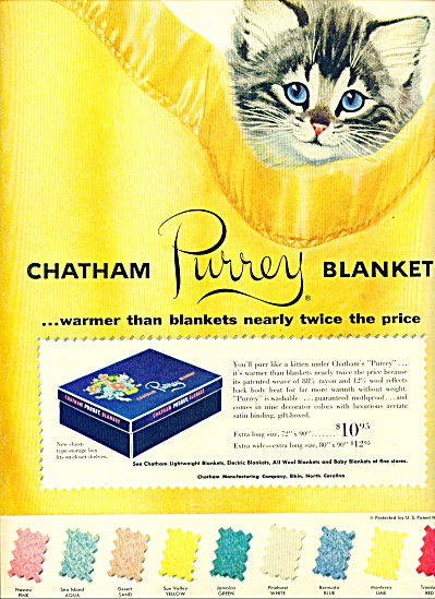 1953 Chatham Purrey blanket ad CUTEST KITTEN (Image1)