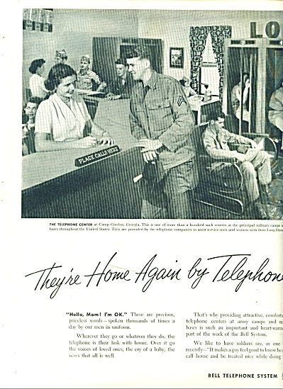 1952 Bell Telephone Ad - Soldiers Call Home