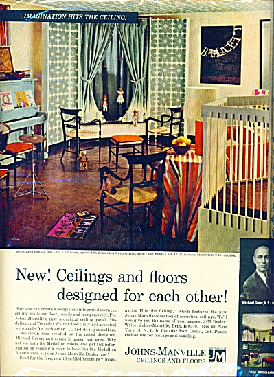 1961 - Johns-Manville ceilings and floor ad (Image1)