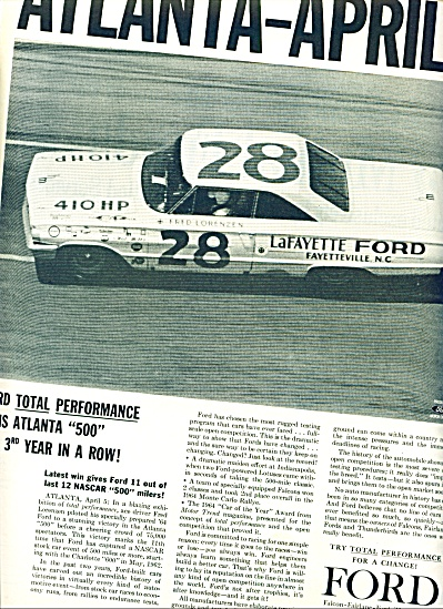 1964 =  Ford car wins Atlanta 500 ad (Image1)