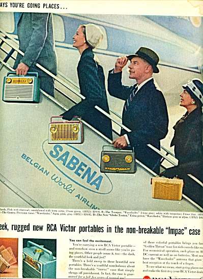 1957 - Rca Victor - Sabena Airlines Ad