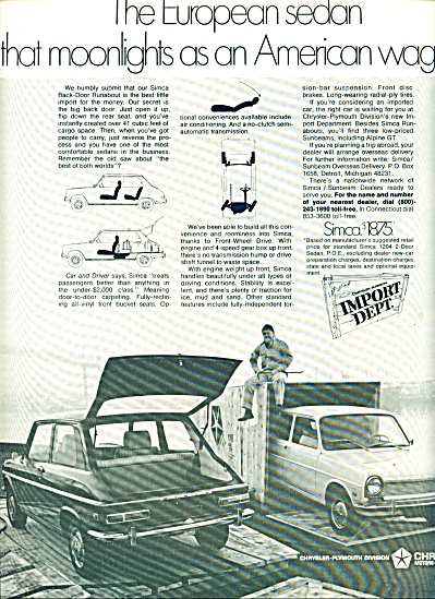 1970 -  Chrysler Simca import auto ad (Image1)