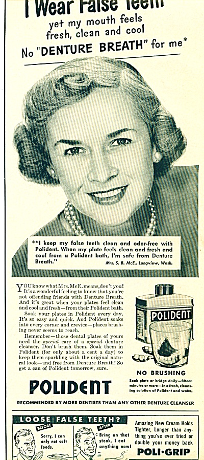 1950 - Polident denture cleanser ad (Image1)
