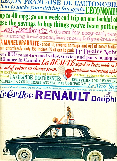 1959 -  Renault Dauphine automobile ad (Image1)