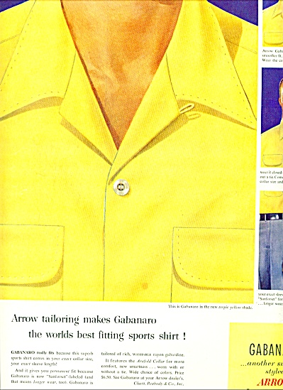 1953 - Arrow sports shirt-Gabanaro ad (Image1)