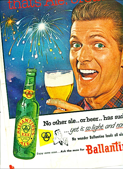 1955 -  Ballantine ale ad FIREWORKS ~THATS ALE, BROTHER (Image1)