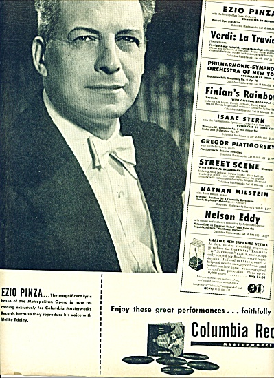 1947 - Ezio Pinza - Columbia Records Ad