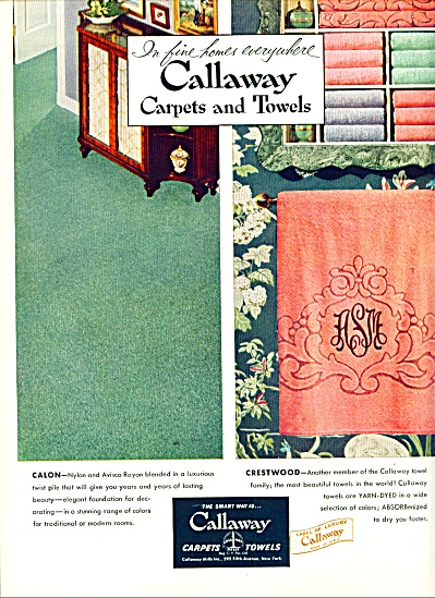 1954 - Callaway Carpets And Towels Ad
