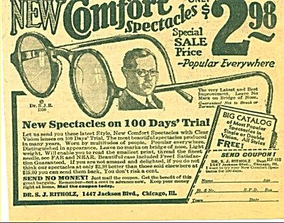 1930 -  New Comfort spectacles sale ad (Image1)