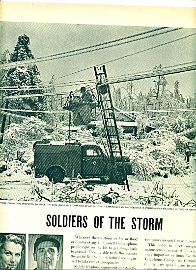 1952 - Bell Telephone AD FIX Lines IN STORMS DISASTERS (Image1)
