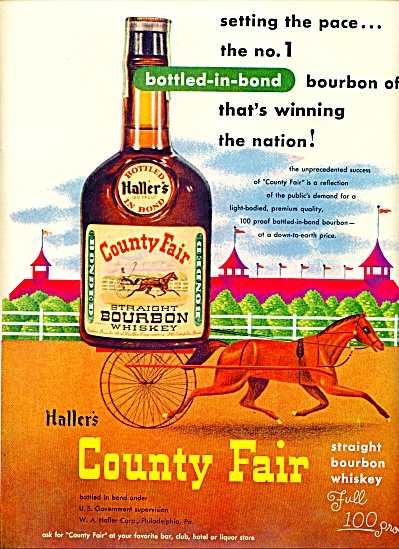 1951 - Haller's Country Fair bourbon whiskey HORSE RACE (Image1)