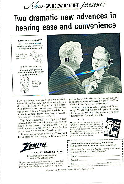1956 - Zenith Quality Hearing Aids Ad