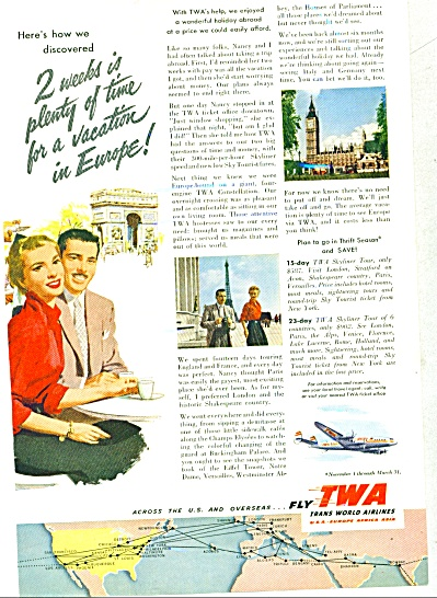 1953 - Twa Airlines Ad