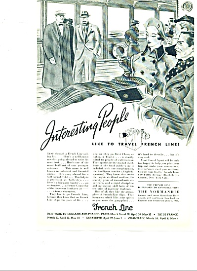 1935 - French Line Ship Ad - Vintage Paris Artwork Sail
