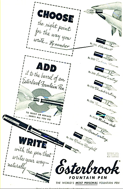 1953 - Esterbrook Fountain Pen Ad