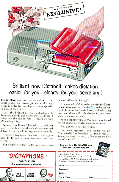 1953 - Dictabelt For Dictation Ad