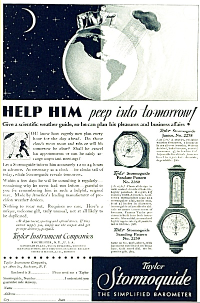 1935 - Taylor Instruments Stormoquide Barometer Ad