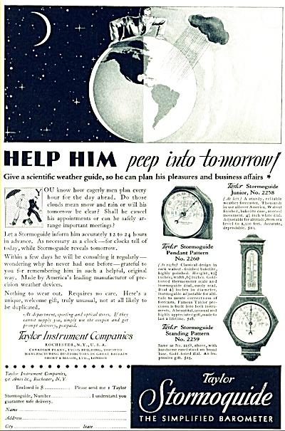1935 -  Taylor Instruments Stormoquide Barometer ad (Image1)