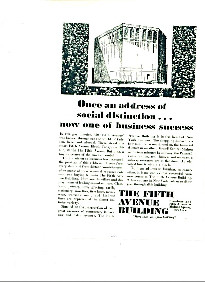 1929 -  The Fifth Avenue building ad (Image1)