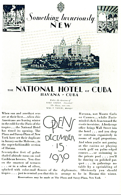 1930 -  The National Hotel of Cuba ad (Image1)