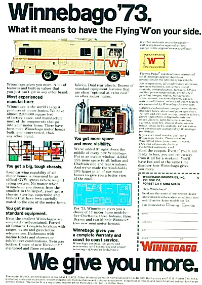 1972 - Winnebago Flying W Ad