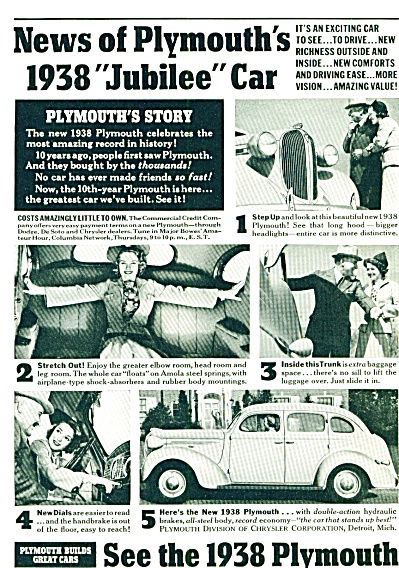 1937 - Plymouth For 1938 Ad