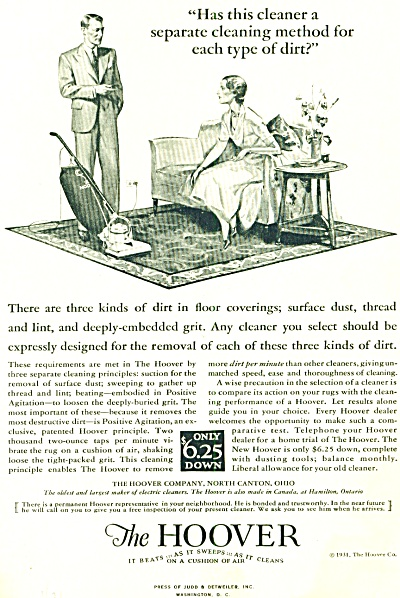1931 - The Hoover Vacuum Cleaner Ad