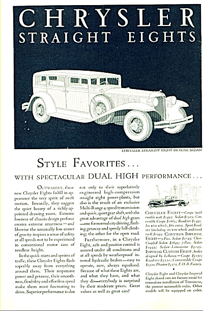 1931 - Chrysler Straight eights autos ad (Image1)