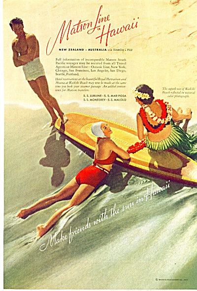 1937 -  Matson line to Hawaii ad (Image1)