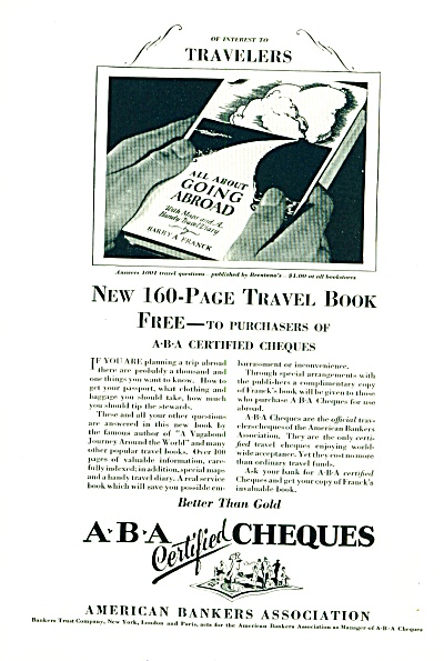 1927 - A B A certified cheques ad (Image1)