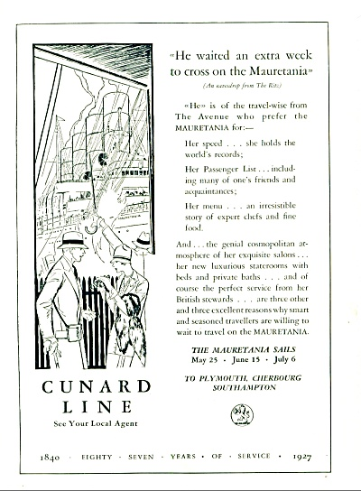 1927 - Cunard Line Travel Ad